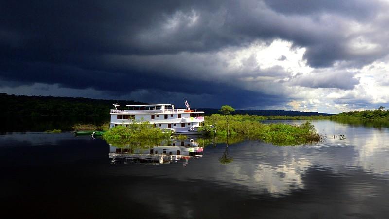 As belezas do rio Negro enquanto o barco navega