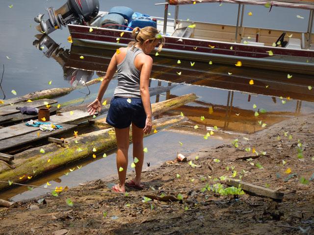 uma mulher rodeada de borboletas na beira de um rio na Amazônia